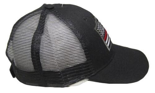 TWC Thin Red Line USA American Flag Patch Snapback Trucker Mesh Cap Black