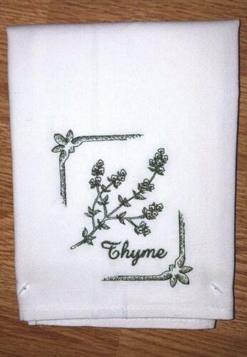 THYME HERB MACHINE EMBROIDERED FLOUR SACK DISH TOWEL