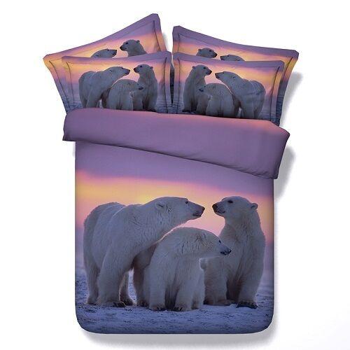 Twin & Queen Taille Polar Bear Family Duvet Cover Bedding Set Boys Girls