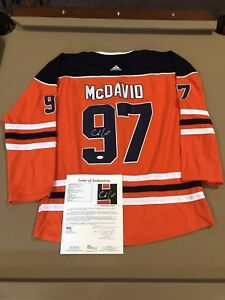 best cheap e3d52 8649e Details about Connor Mcdavid Signed Custom Edmonton Oilers Jersey NHL STAR  w/ JSA LOA