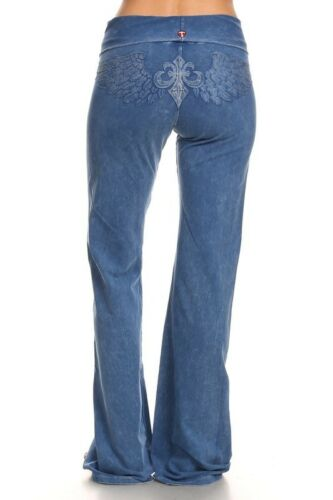T-PARTY Indigo Blue Mineral Wash Fold Over Waist Angel Wing Yoga Workout Pants