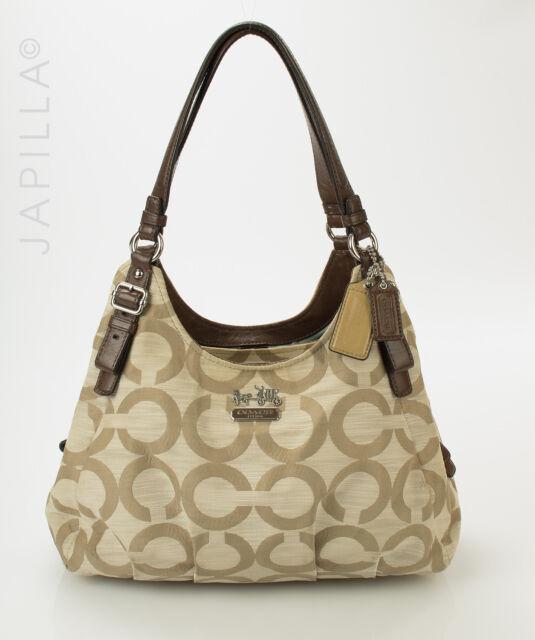 Coach 17020 Maggie Mia Optic Khaki canvas shoulder bag Purse