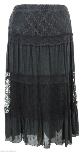 Womens size 16 - 26 long lined Black shine lace skirt ladies high quality