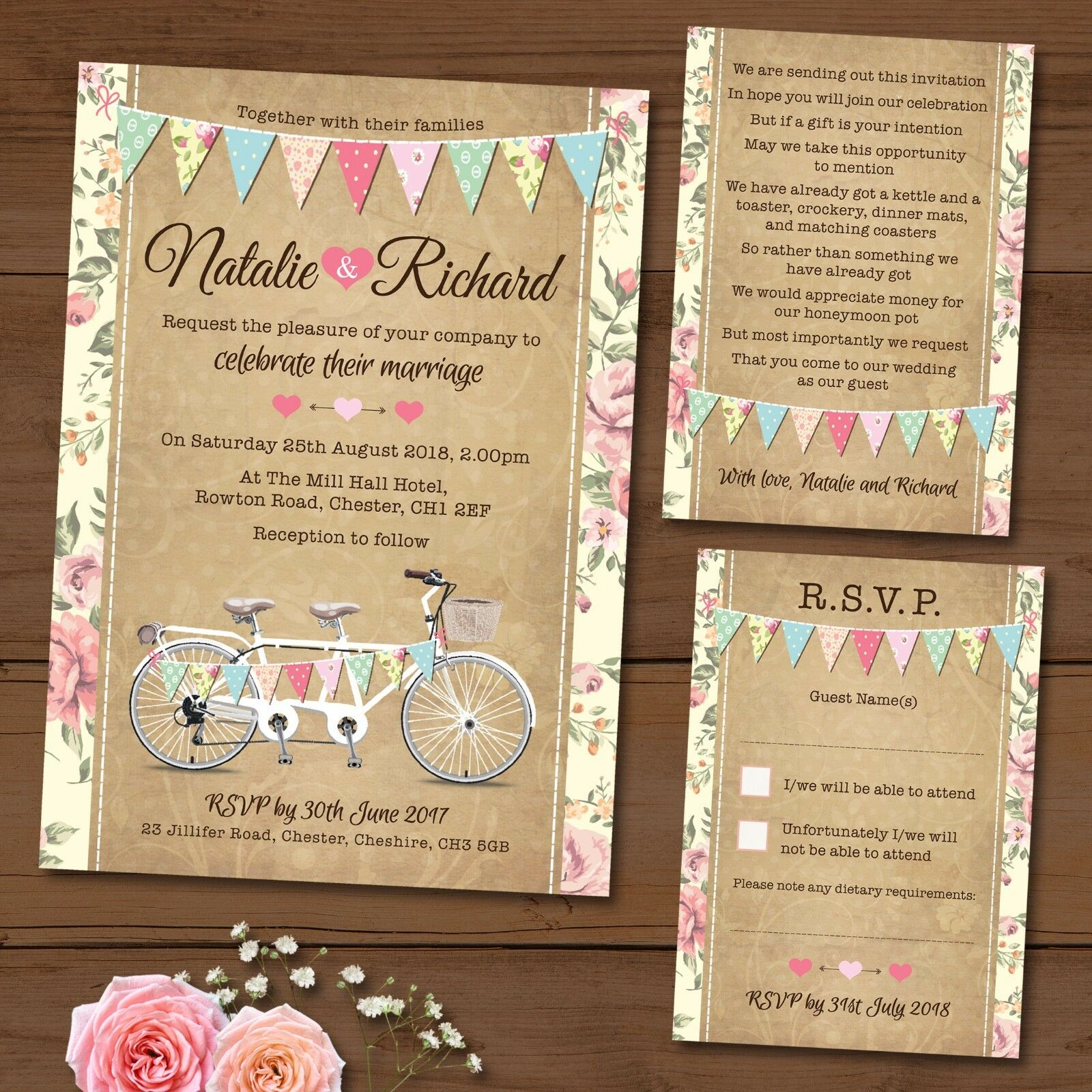 Tandem Bike Bunting Wedding Invitation Package Deal