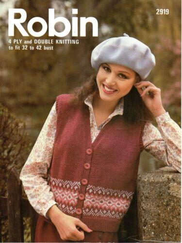 "Robin 2919 Vintage Knitting Pattern Ladies Fairisle Waistcoat 32-42/"" 4 ply DK"