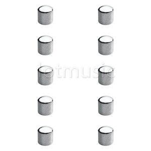 10-Pcs-Electric-Guitar-Chrome-Brass-Dome-Knob-For-Tele-Telecaster-Or-Bass-Parts