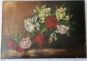"BIG 20"" ANTIQUE ORIGINAL OIL PAINTING FLORAL ROSES VICTORIAN COUNTRY FOLK ART"