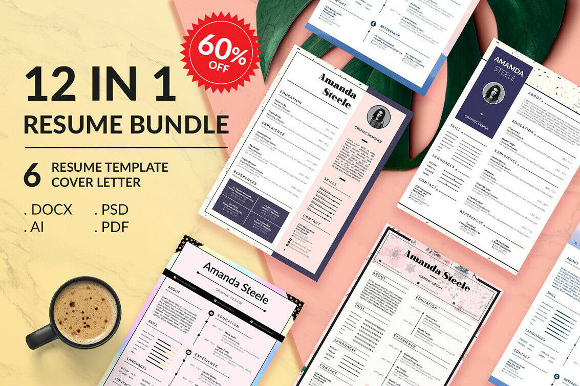Resume BUNDLE Template - 12 in 1 - 6 Resumes & 6 Cover Letter - .Docx .PSD .Ai 4
