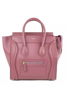 Image Is Loading Celine Leather Burgundy Wine Red Micro Luggage Tote