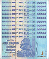 Zimbabwe 100 Trillion Dollar Banknote X 10 PCS, 2008, AA Series, NEW