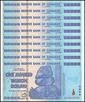 Zimbabwe 100 Trillion Dollar Banknote X 10 PCS, 2008, AA Series, NEW
