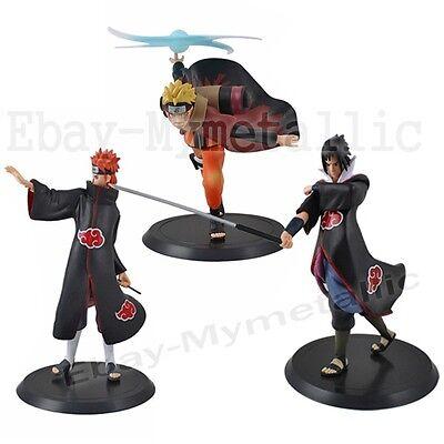 3pcs Set Naruto Uzumaki Naruto / Akatsuki Pain / Uchiha Sasuke 18cm PVC Figure