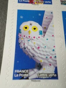 FRANCE-2019-timbre-AUTOADHESIFS-TETE-de-CHOUETTE-OISEAU-FEERIQUE-neuf-MNH