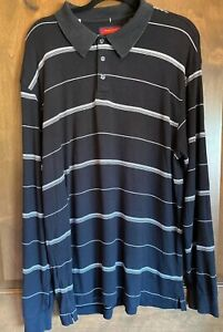 Austin Reed London Men 039 S Black Long Sleeve Stripe Polo Shirt Size L Preowned