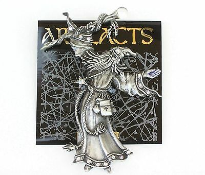 Wizard holding staff Snake over head Jonette Jewelry Pewter Sign JJ Pin