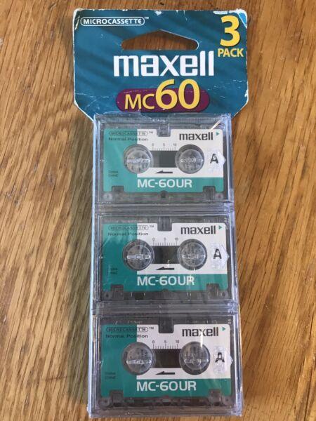 Maxell Mc-60ur Microcassette Blank Audio Cassette Tapes 3-pack New