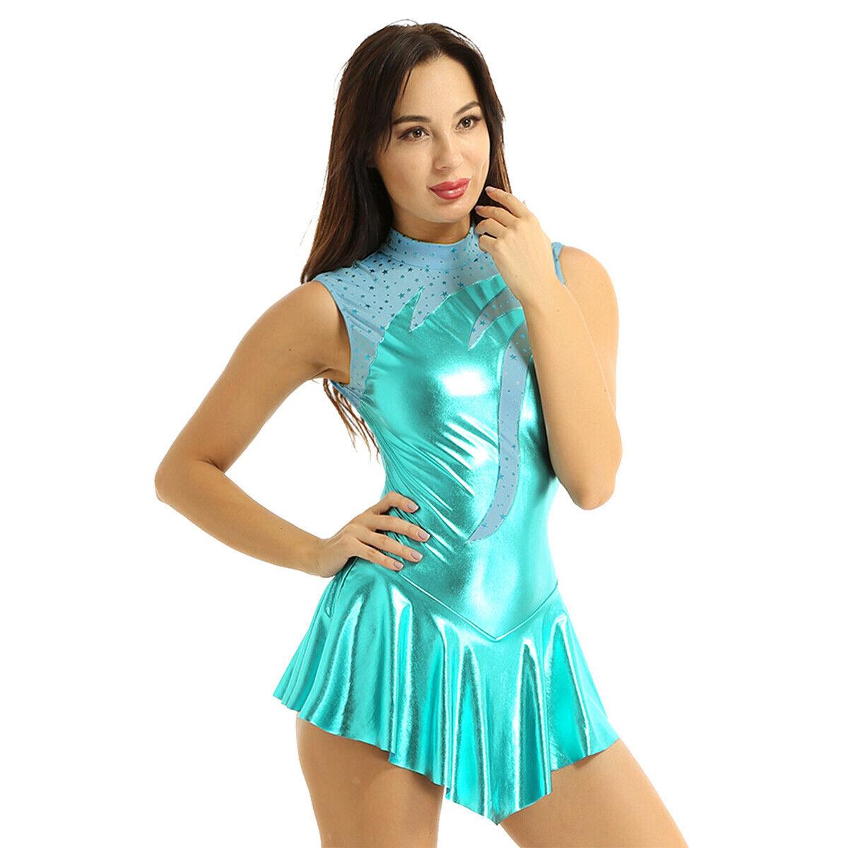 Girl Ladies Figure Ice Skating Leotard Dress Shiny Metallic Ballet Dancewear Gym