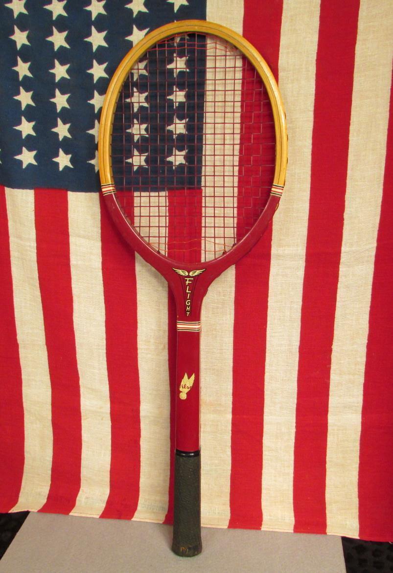 Vintage 1950s Wilson Wood Flight Tennis Racquet Mid-Century Great Display