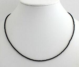 Schwarz-Spinell-Kette-Edelsteinkette-Fecettierte-Collier-925-Silber-ca-45-cm-Neu