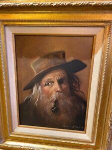 Oil-Painting-Old-Sailor-Smoking-Pipe-Donald-F-Allan-Original