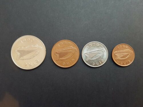 All Irish Coins minted in 1990 Set of 4 coins 1p 2p 5p 1 Pound
