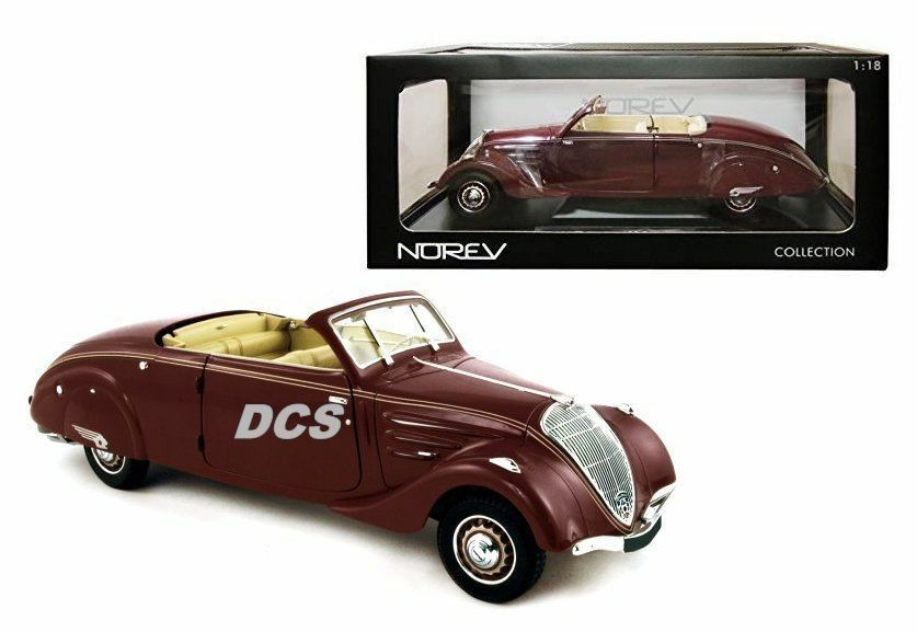 NOREV 1937 PEUGEOT 402 ECLIPSE DARK RED 1 18 DIECAST CAR MODEL 184717