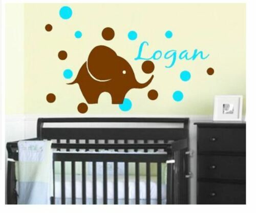 Wall Stickers custom baby name elephant vinyl decal decor Nursery kid removable