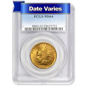 US Gold $10 Liberty Head Eagle Random Date PCGS MS64