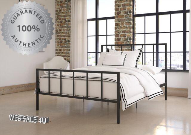Metal Bed Frame KING Industrial Platform Rails Iron Headboard