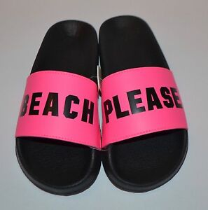 22b8aa76debde NEW VICTORIA S SECRET HOT PINK BEACH PLEASE SLIDES FLIP FLOPS ...