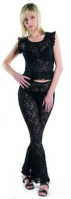 Women Gothic Black Legging 2 Sizes Well Bottom with Lace Stretchable Net Pants