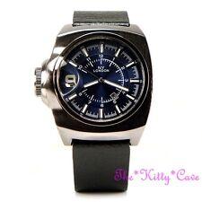 Retro Square Blue Designer Hematite Pl & Black Leather Chunky Date Display Watch