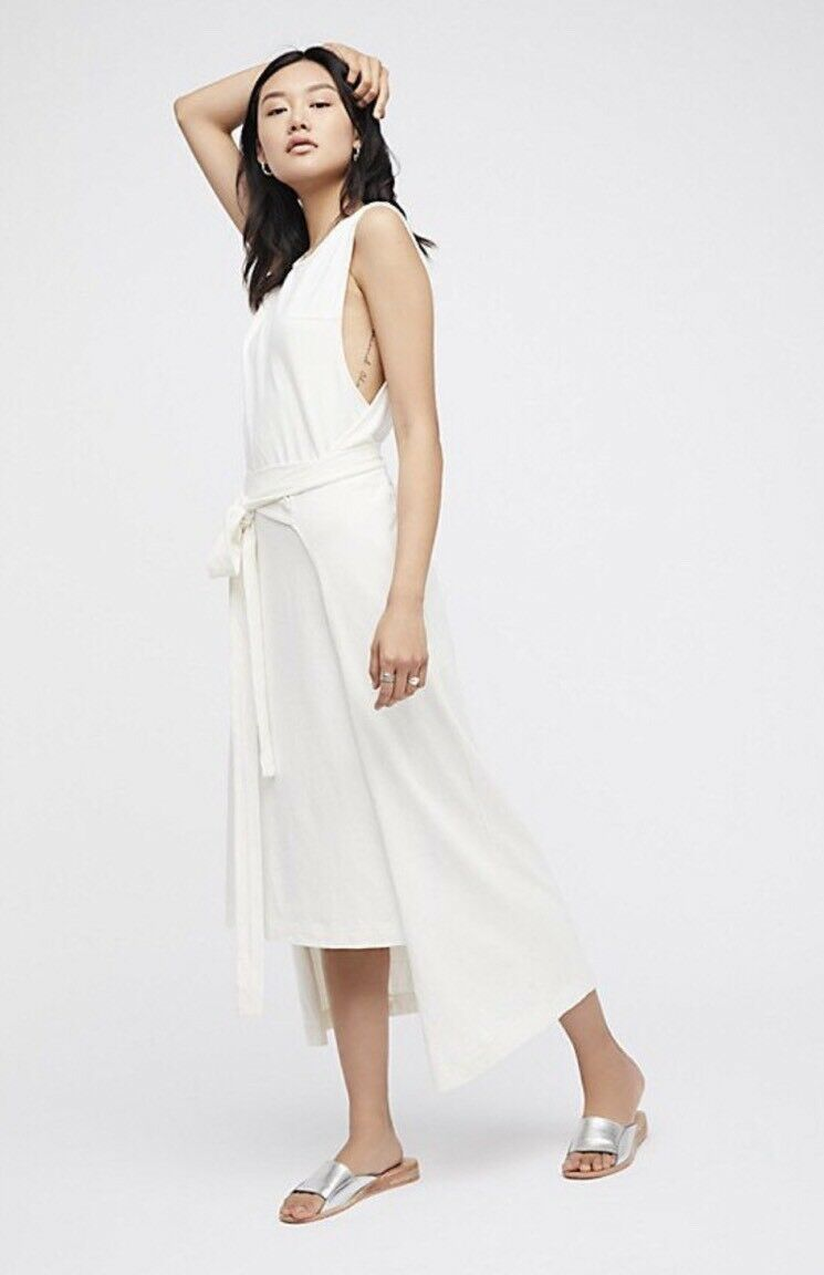 NEW FREE PEOPLE FP BEACH Sz S ROLL WITH IT 2 LAYER WRAP MAXI DRESS IVORY  98
