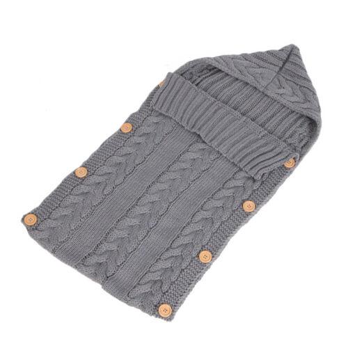 Newborn Baby Infant Swaddle Wrap Blanket Sleeping Bag Knitted Hooded Sleepsacks