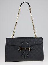 Authentic Gucci Emily Guccissima Chain Black Medium Shoulder Bag