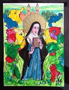 GRAFE-DALI-Acryl-auf-Karton-22x30-cm-034-Hildegard-von-Bingen-034-Unikat-Surrealismus
