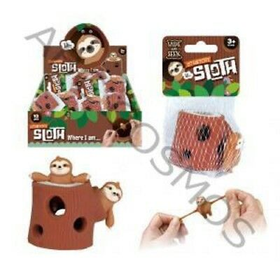 STRETCHY SLOTH AND STUMP FIDGET TOY GIRLS BOYS GIFT BIRTHDAY PARTY BAG FILLER