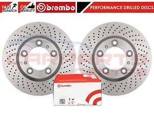 FOR-PORSCHE-911-3-4-CARRERA-FRONT-CROSS-DRILLED-BRAKE-DISCS-BREMBO-BRAKE-PADS