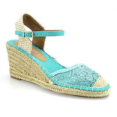 Ladies Womens New Satin Lace Mid Wedge Heel Espadrilles Summer Sandals Shoe Size