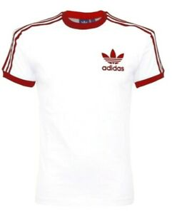 Adidas-Originals-Mens-Trefoil-California-Tees-Crew-Neck-T-Shirt-White-Maroon-NEW