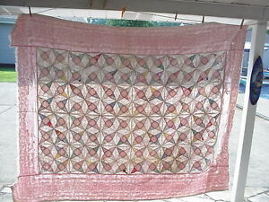 "VINTAGE or ANTIQUE QUILT FOR REPAIR OR CUTTER, 80""X62"" APPROX.."