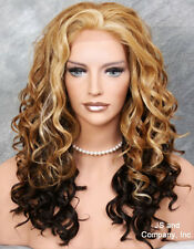 HEAT OK Thick Wavy Curly Lace Front Wig Long Blonde Orange brown mix IS 2032