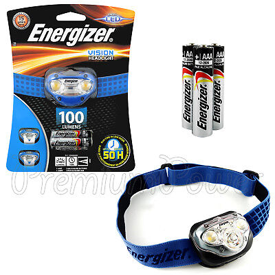 NEUF ENERGIZER Vision 100 lm Super Bright Headlight DEL avec 3 piles AAA