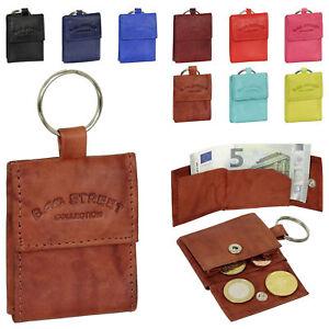 Mini-Geldboerse-mit-Schluesselring-und-Geldscheinfach-Leder-Schluesseletui