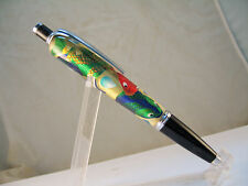HW hand turned metallic fish in clear acrylic Compston ballpoint click pen d
