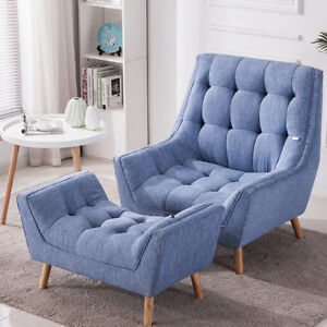 Magnificent Details About Chenille Fabric Bedroom Occasional Chair Armchair Blue Yellow With Foot Stool Uk Pabps2019 Chair Design Images Pabps2019Com