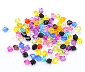 1000-Mix-Doppelkegel-Perlen-Bicone-Rhomben-Facettiert-Beads-Acrylperlen-6x6mm