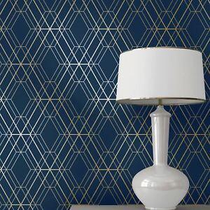 Monde De Papier Peint Metro Diamant Geometrique Bleu Dore Wow003