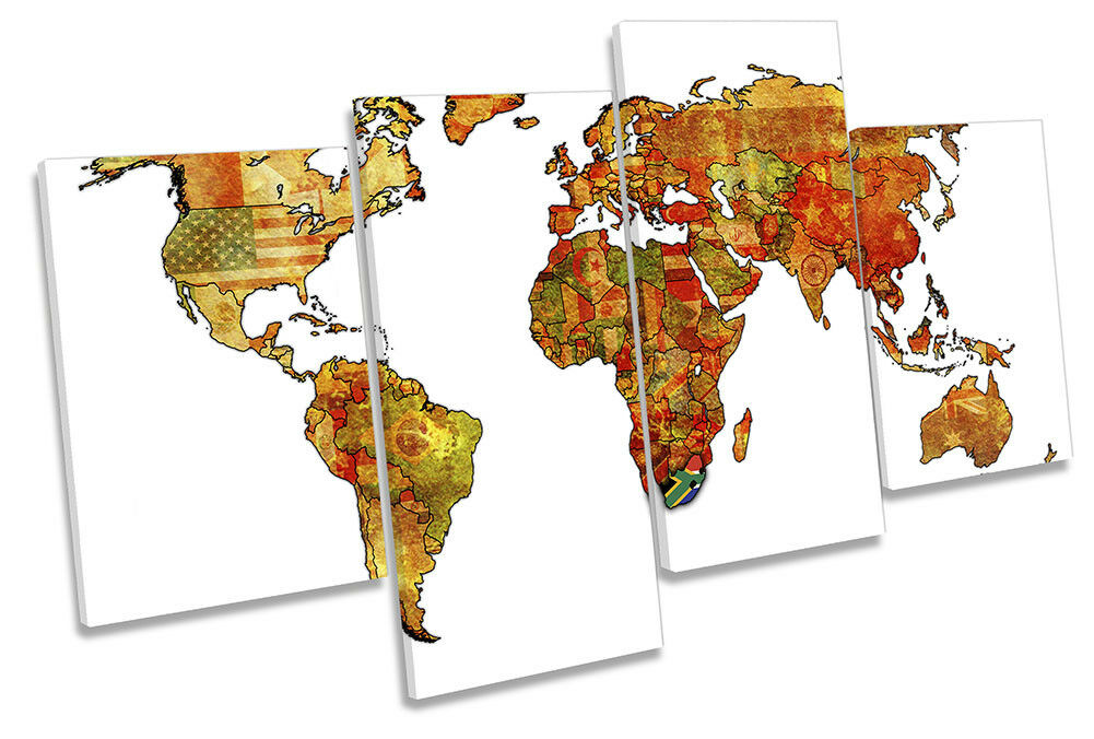 Map of the World Flags Picture MULTI CANVAS WALL ART Print