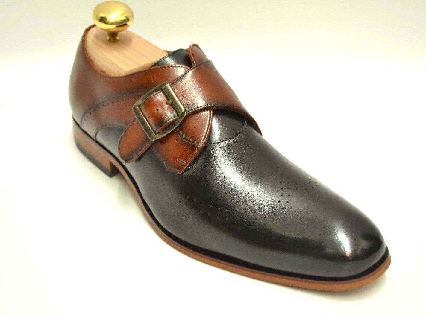 Men's Stacy Adams Saxton Negro Cognac Monje Correa Slip On Dress zapatos 25178-969